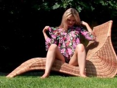 Cute dress and black panties on teen outdoors videos