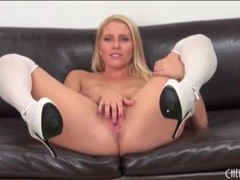 White stockings and high heels on hot blonde videos