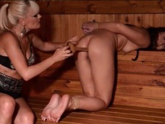 Sauna spoon up the asshole of bound girl tubes