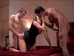 Young slut in a skirt has spit roasting threesome movies at lingerie-mania.com