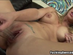 Blonde fucks long light bulb into her cunt movies at sgirls.net