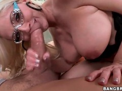 Sexy blonde in great glasses has hardcore sex videos