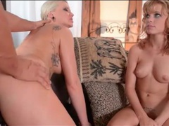 Blonde bent over and banged doggystyle in threesome videos