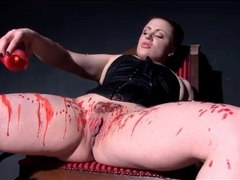 Kinky chick in corset pours hot wax on her body movies at freekiloclips.com