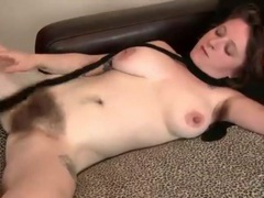 Hairy legs and huge bush on busty babe videos