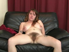 Very hairy legs and pussy on solo milf videos