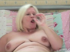 Chubby solo mom cutie masturbates in bed movies at lingerie-mania.com