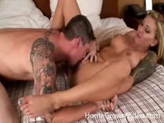 Hot blonde with sleeve tattoo sits on dick tubes