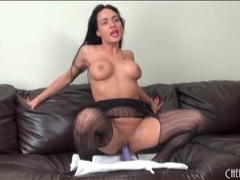 Busty chick in stockings and lipstick masturbates movies at sgirls.net