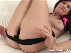 Redhead peels off her pretty little panties videos