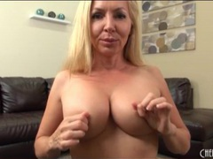 Milf fondles her fake tits in close up movies at sgirls.net
