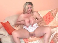 Mature bbw with large tits masturbates movies at lingerie-mania.com