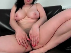 Hairy brunette plays with her pubic hair videos
