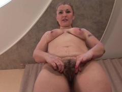 Sexy solo mommy pulls on her thick pubic hair movies at find-best-panties.com