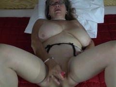 Pearls and glasses on masturbating mature movies at find-best-panties.com