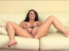 Thick girl in glasses masturbates with a toy videos