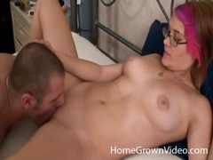 Pink haired young lady loves getting eaten out videos