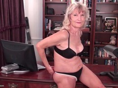 Granny striptease in her office videos