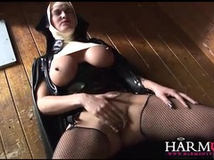 Latex nun sucks big black cock lustily movies at lingerie-mania.com