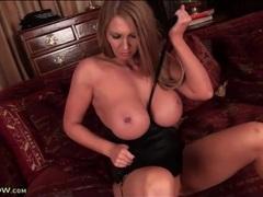 Huge fake boobs milf pornstar masturbates movies at lingerie-mania.com