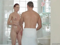 Flawless redhead and her man foreplay in bathtub videos