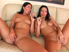 Brunettes in purple eye shadow have lesbian sex movies at sgirls.net
