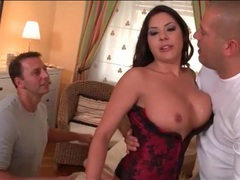 Beautiful girl in corset sucks dicks in threesome movies at find-best-panties.com