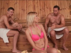 Karina grand sucks and strokes guys in sauna movies