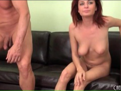 Cute nude redhead gives him a blowjob on camera videos