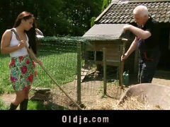 Old man and young babe fucking in the farm videos