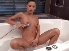 Skinny blonde in pink lipstick takes a shower videos