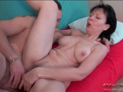 Cocksucking old lady rides his thick young dick videos