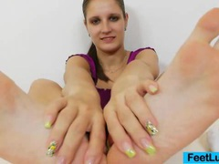 Footjob from a young brunette videos