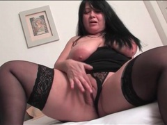 Bbw mature in black stockings masturbates vagina movies at sgirls.net