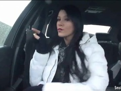 Sensual smoking in the car with lipstick girl videos