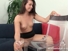 Cute young brunette pours piss on her hair movies at find-best-babes.com