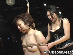 Graceful japanese domme punishes a bound slave girl videos