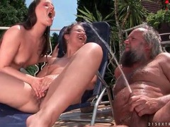 Bikini girls and old guy pissing outdoors videos
