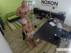 Slutty blonde fucking to keep her job videos
