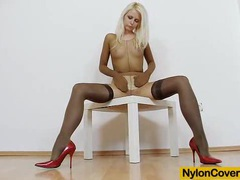 Slim blonde full in panty-hose movies at lingerie-mania.com