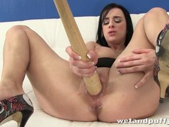 Thin baseball bat in the cunt of tattooed girl movies
