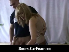 Slutty hairdresser punished with a catfight by an unsatisfied whore videos