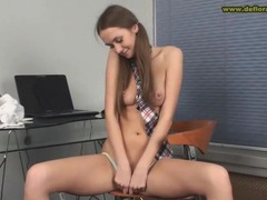 Perky boobs girl in pigtails plays with her pussy movies at freekilomovies.com