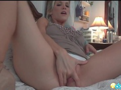 Blonde with incredible tits masturbates in panties tubes