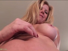 Blonde mature with great fake tits is sexy movies