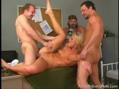Three men gangbang a dirty blonde whore videos