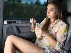 Big tits brunete getting off in a car videos