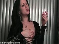Black latex looks naughty on hot smoking girl videos