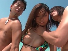 Beautiful bikini girl on the beach groped by guys tubes at asian.sgirls.net