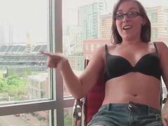 Sinn sage hangs out in her bra and jean shorts tubes